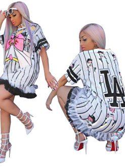 Short Sleeve Ruffle Hem Loose Casual Mini Dress