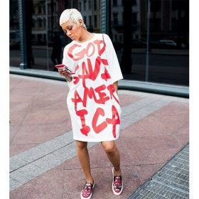 God Save America Casual White Summer Dress 2