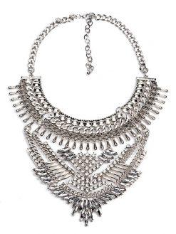 Vintage Maxi Crystal Silver  Necklace 1