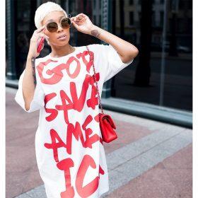 God Save America Casual White Summer Dress
