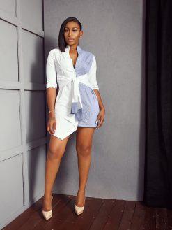 blue stripe and white patchwork sexy irregular shirt, 2019 women's dress, button up full sleeve mini 1