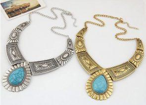 Vintage Gem Geometric Thread Statement Necklaces & Pendants 4