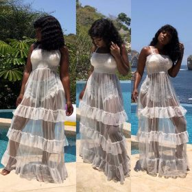 SHEER MESH MAXI DRESS COVER UP