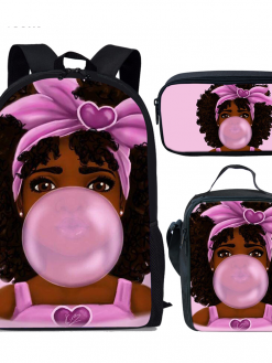 3pcs/set Black Afro Girls Print Backpack in School Stylish for Kids