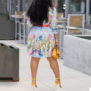 African Floral Pleated Dress 2