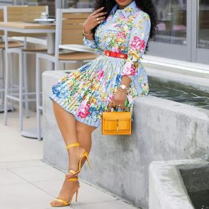African Floral Pleated Dress 1