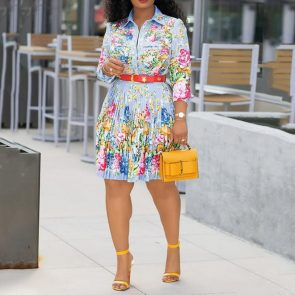 African Floral Pleated Dress