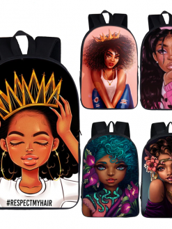 Afro Lady Children School Backpack