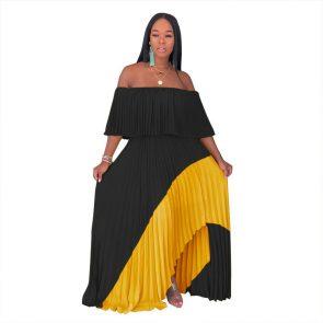 Echoine women casual long dresses off shoulder pearl chiffon pleated stitching dress female irregular personality ladies 2