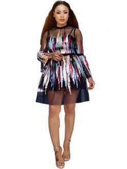 Party Mesh Colorful Sequined Sexy Mini Dress