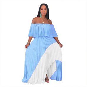 Echoine women casual long dresses off shoulder pearl chiffon pleated stitching dress female irregular personality ladies 1