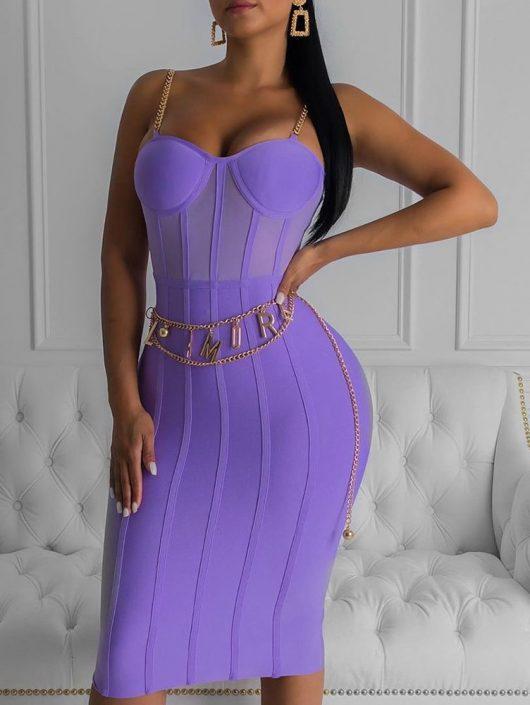 Neon Purple Bandage Dress Sleeveless Bodycon Club Party Dress