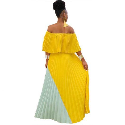 Echoine women casual long dresses off shoulder pearl chiffon pleated stitching dress female irregular personality ladies 4