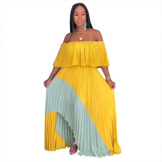 Echoine women casual long dresses off shoulder pearl chiffon pleated stitching dress female irregular personality ladies 3