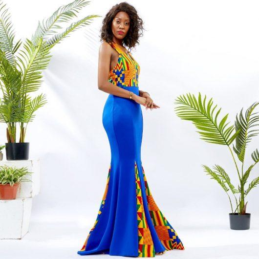Blue Mermaid Ankara Dress 5