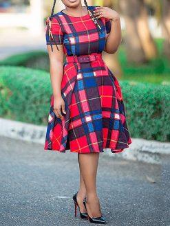 Vintage Plaid African Dress