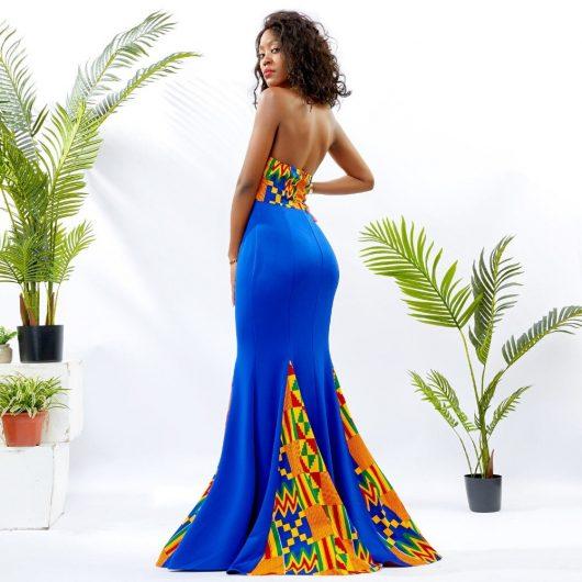 Blue Mermaid Ankara Dress 1