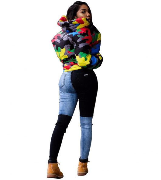 Plus Size Colorful Camouflage Cotton Wadded Jacket 2