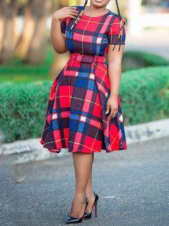 Vintage Plaid African Dress 1