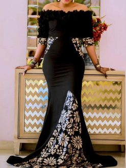 Elegant Black Off Shoulder Mermaid Dress