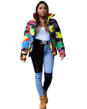 Plus Size Colorful Camouflage Cotton Wadded Jacket 1