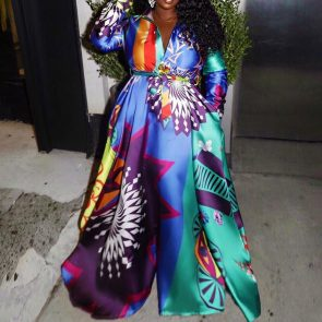 Plus Size Floor-Length Long Sleeve Print Lapel High Waist Maxi Dress 1