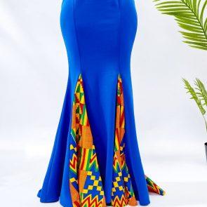 Blue Mermaid Ankara Dress 4