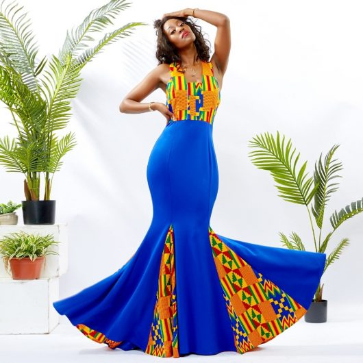 Blue Mermaid Ankara Dress