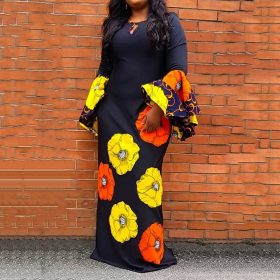 Flare Sleeve Floral Print A-Line Dress 1