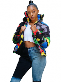 Plus Size Colorful Camouflage Cotton Wadded Jacket