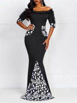 Elegant Black Off Shoulder Mermaid Dress 1