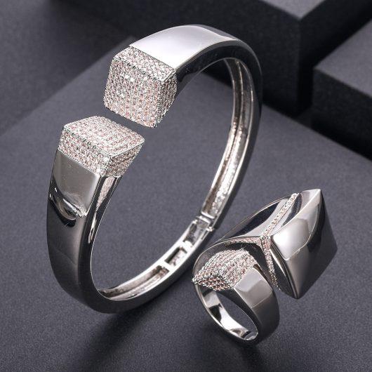 Elegant Unique African Bangle Ring Set  1