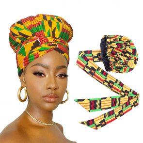 African Print Satin  Headwrap 1