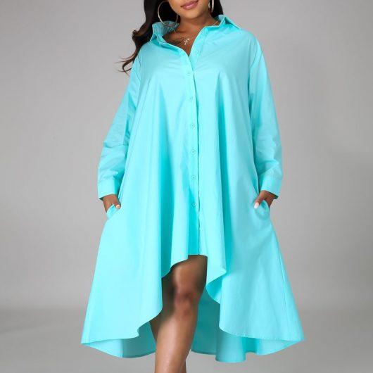 Women Long Shirts Dress  African Dress Vestiods Shirts 2020 Summer Loose Female Midi Dresses Robe Casual Ruffles Daily 6